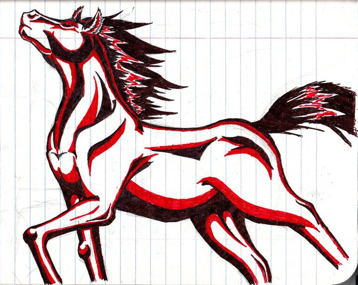 Red horse tattoo design by Love-From-a-Predator on DeviantArt