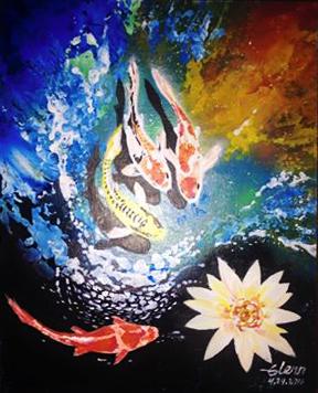 koi acrylic by StrainedEye