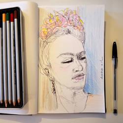 Frida Morning Drawing