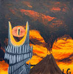 Painting Piece 2: Eye of Sauron and Mt. Doom  by xBooxBooxBear