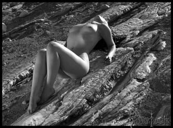 lake of rock with girl