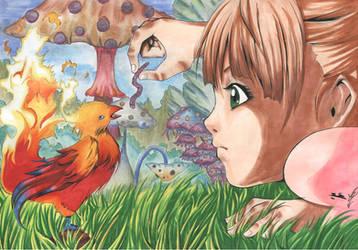 Phoenix and Girl by Ynho-sama