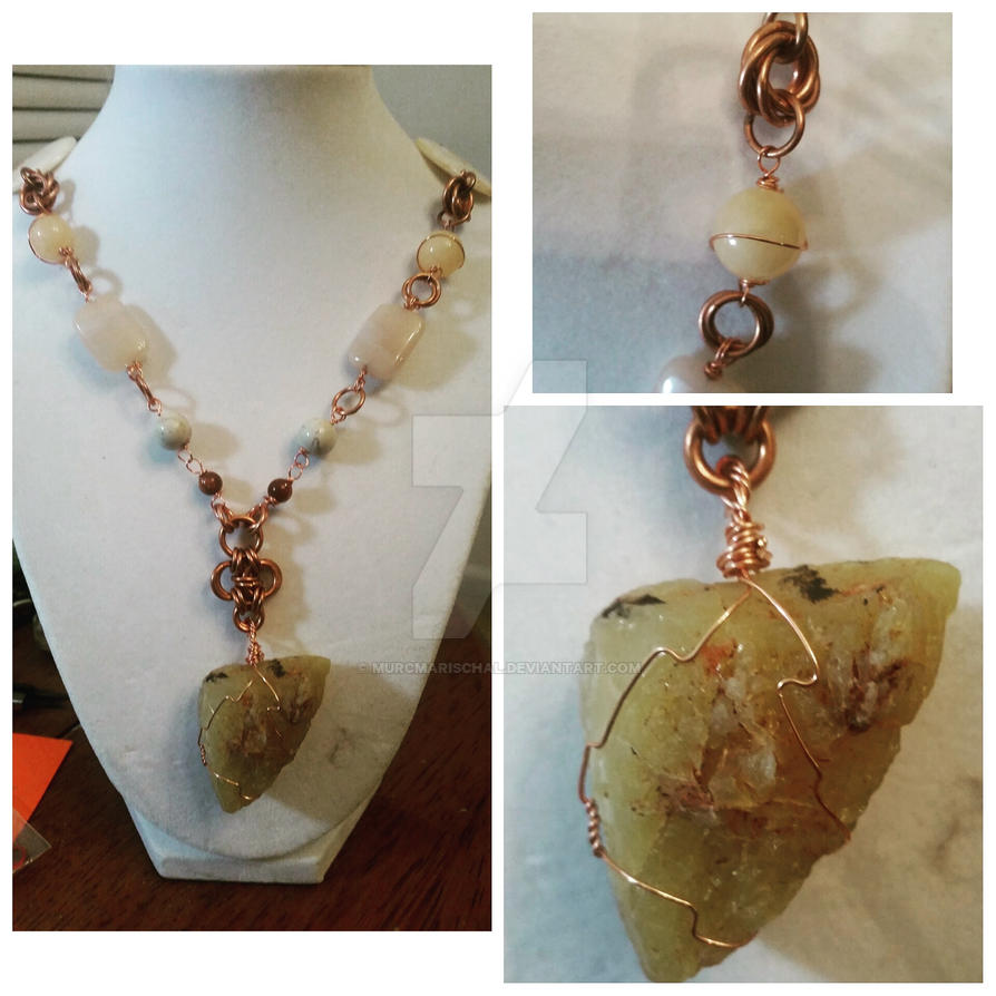 Fancy yellow opal rough necklace by Starlight-Redslate