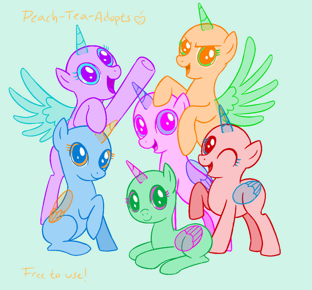 Mlp Mane Six Group Base By Peach-tea-adopts On DeviantArt