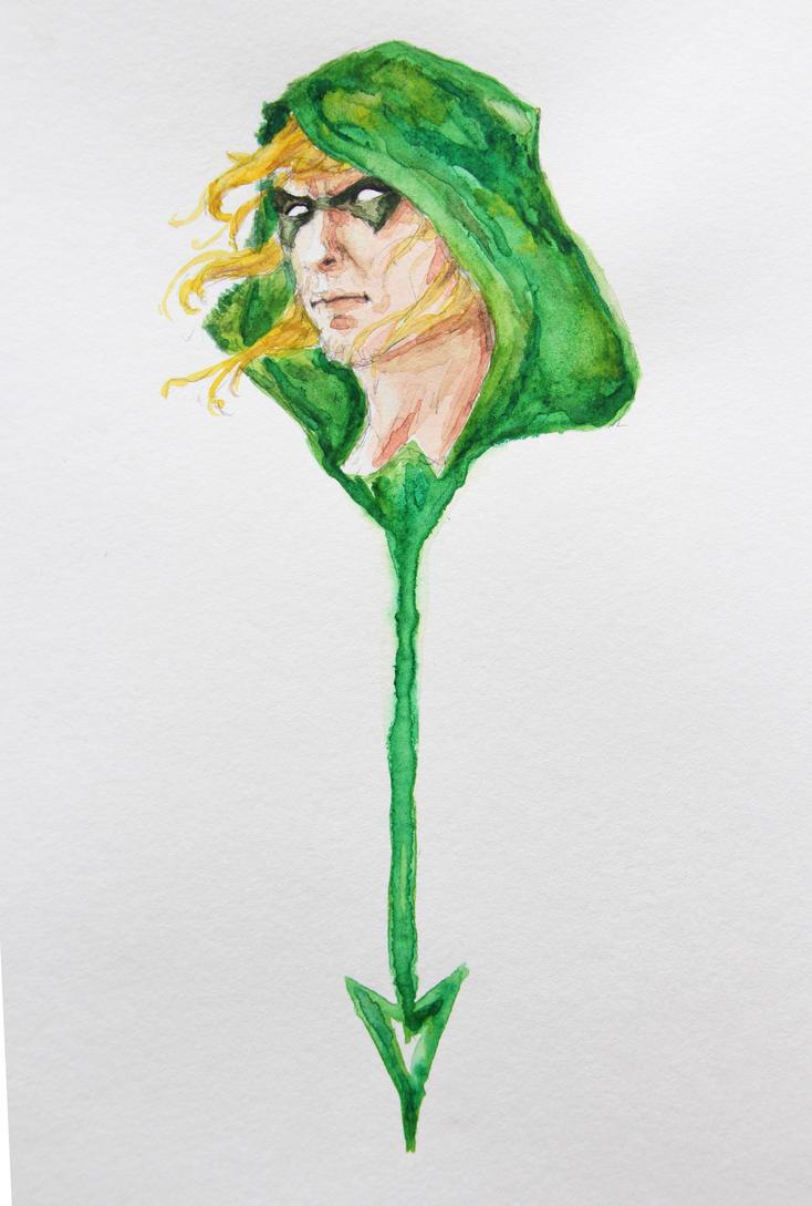 Green Arrow Watercolor by Azeltas