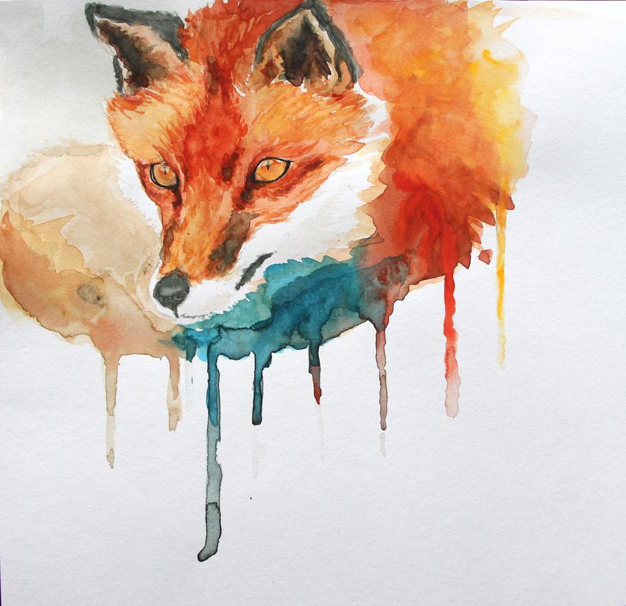 Fox Watercolor by Azeltas