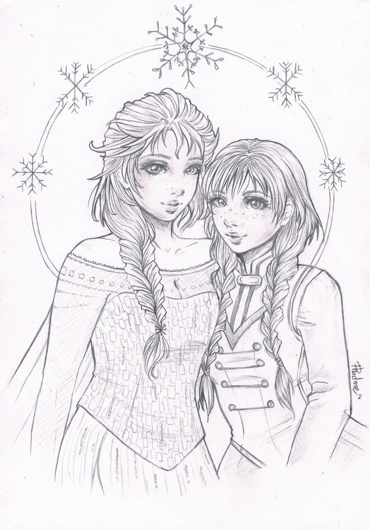 Anna and Elsa by Phadme