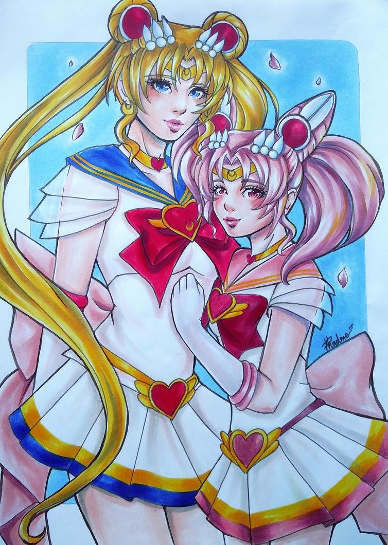 Sailor Moon and Sailor Chibimoon by Phadme