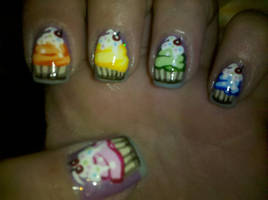 Cupcake Nails 2 by XOMBIE-OCTOPUS-QUEEN