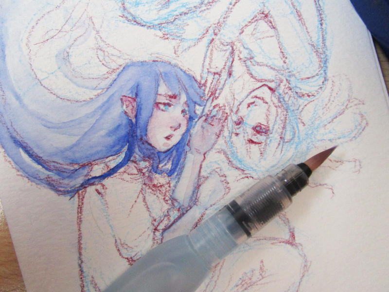 Watercolor progress by JeaneNeji