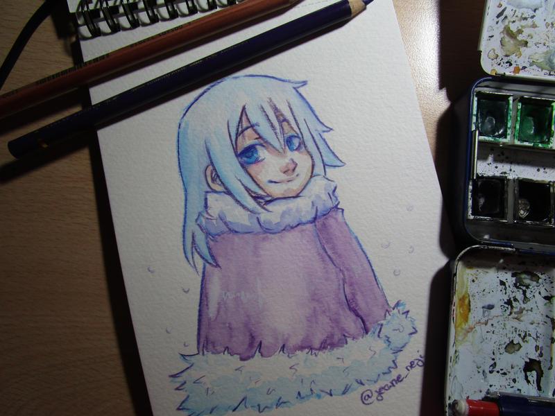 Watercolor girl winter blue by JeaneNeji