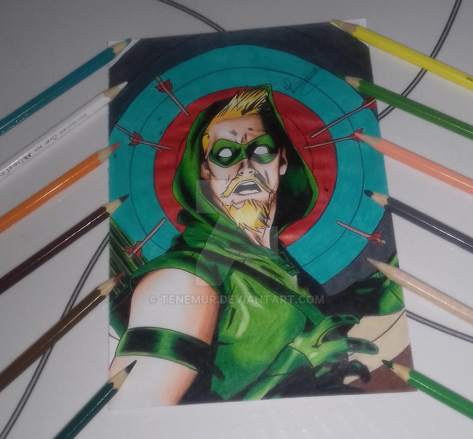 Green Arrow Drawing by Tenemur