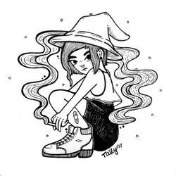 Smoking witch / Inktober 6 by TailyCaos