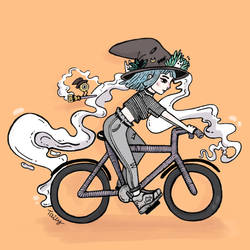 Witch Riding Bike by TailyCaos
