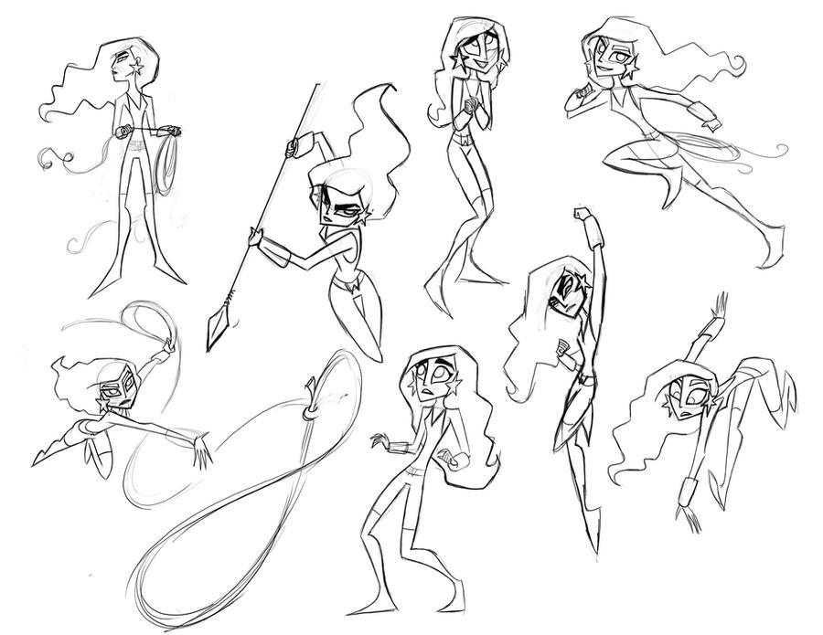 SBFF Wonder Girl sketches by fyre-flye