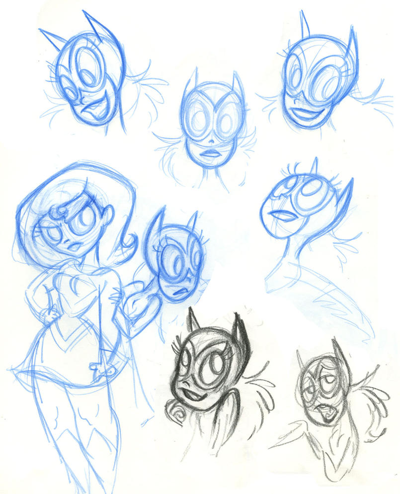 SBFF Batgirl face studies by fyre-flye