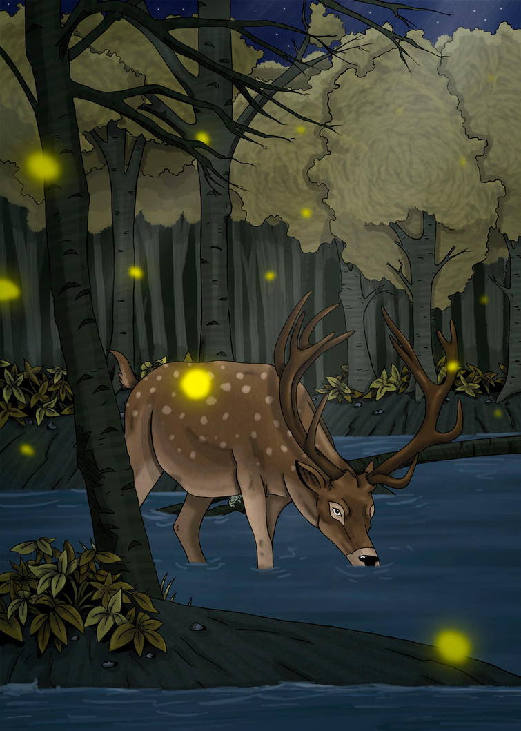 Deer in the forest by Sakatak