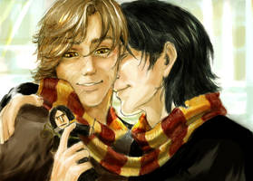 Moony and Padfoot: winter by Linnpuzzle