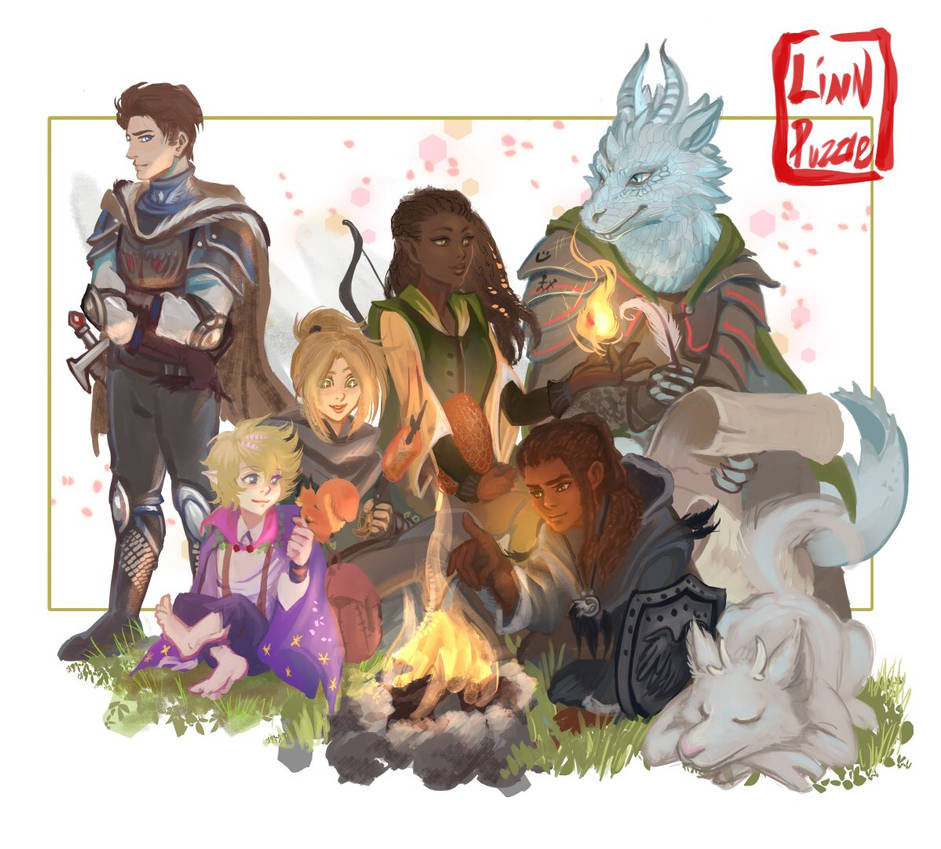 DnD group shot: home party by Linnpuzzle