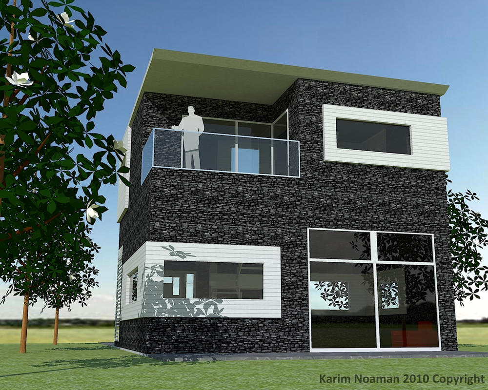 Simple modern house design by knoaman on deviantart for Simple house exterior design