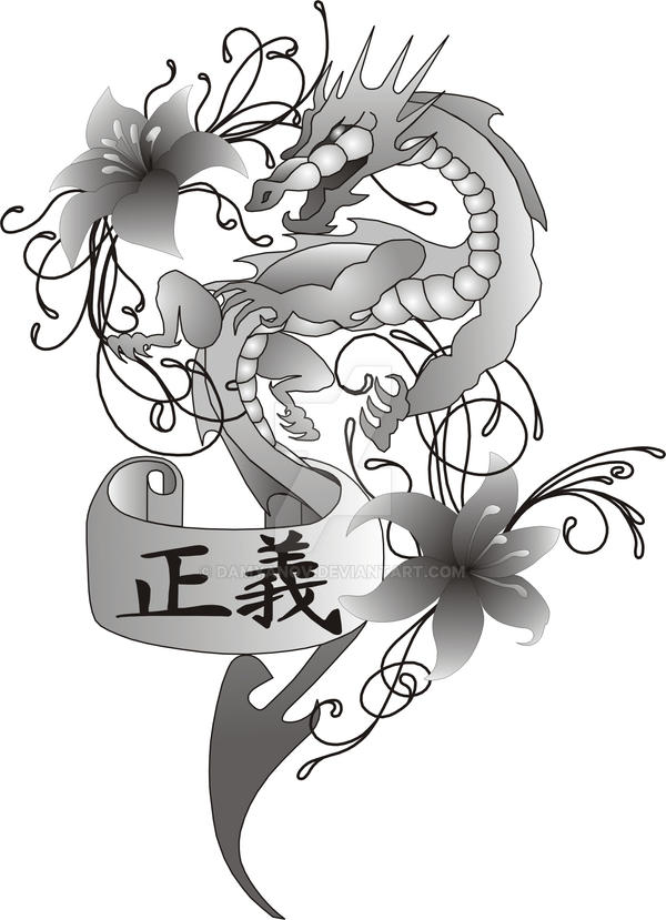 dragon with flowers and kanji scroll tattoo design by damyanov on deviantart. Black Bedroom Furniture Sets. Home Design Ideas