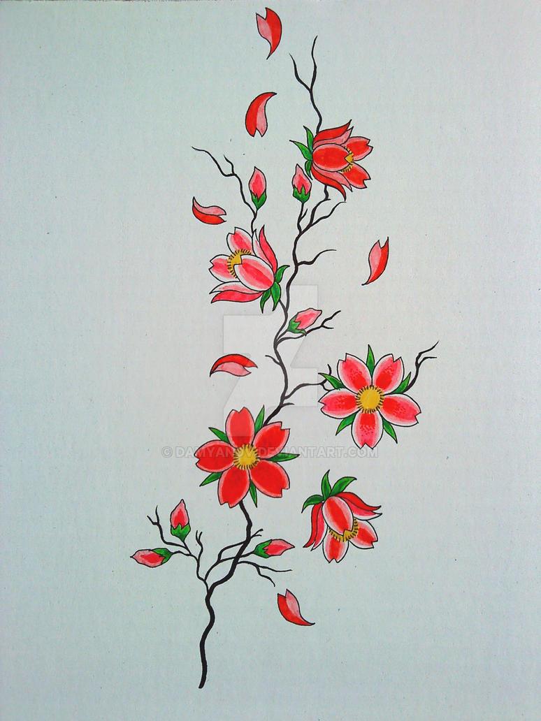cherry blossom branch tattoo design by damyanov on deviantart. Black Bedroom Furniture Sets. Home Design Ideas