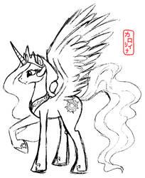 Mighty Celestia - sketch by QueenCarolina