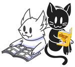 Wolf and Kitty reading comics