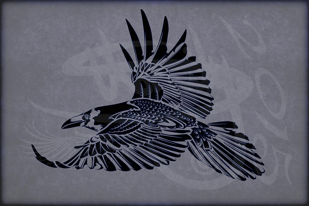 tribal tattoo design crow corvus corax v1 by amoebafire on deviantart. Black Bedroom Furniture Sets. Home Design Ideas