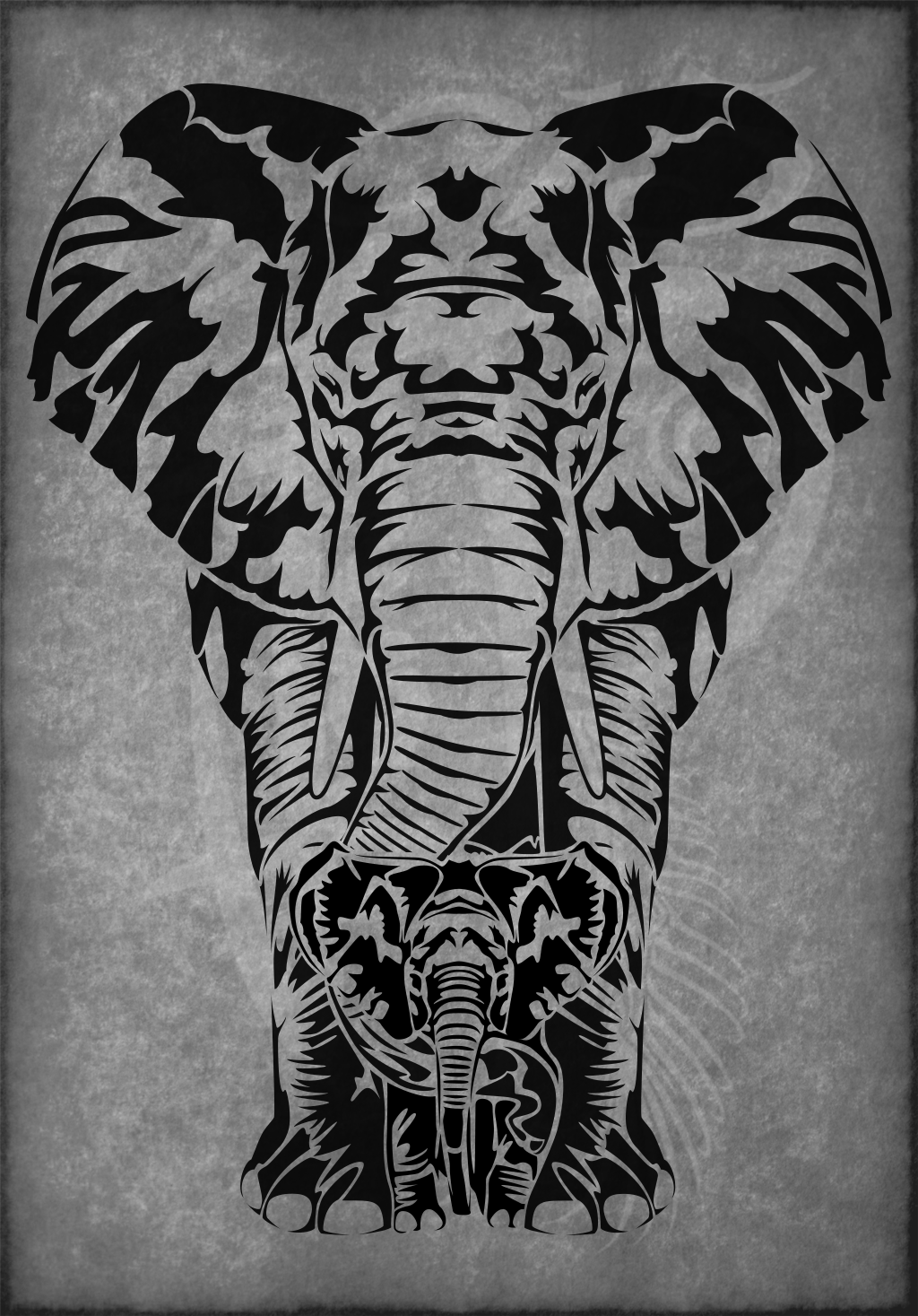 elephant matriarch tribal tattoo by amoebafire on deviantart. Black Bedroom Furniture Sets. Home Design Ideas