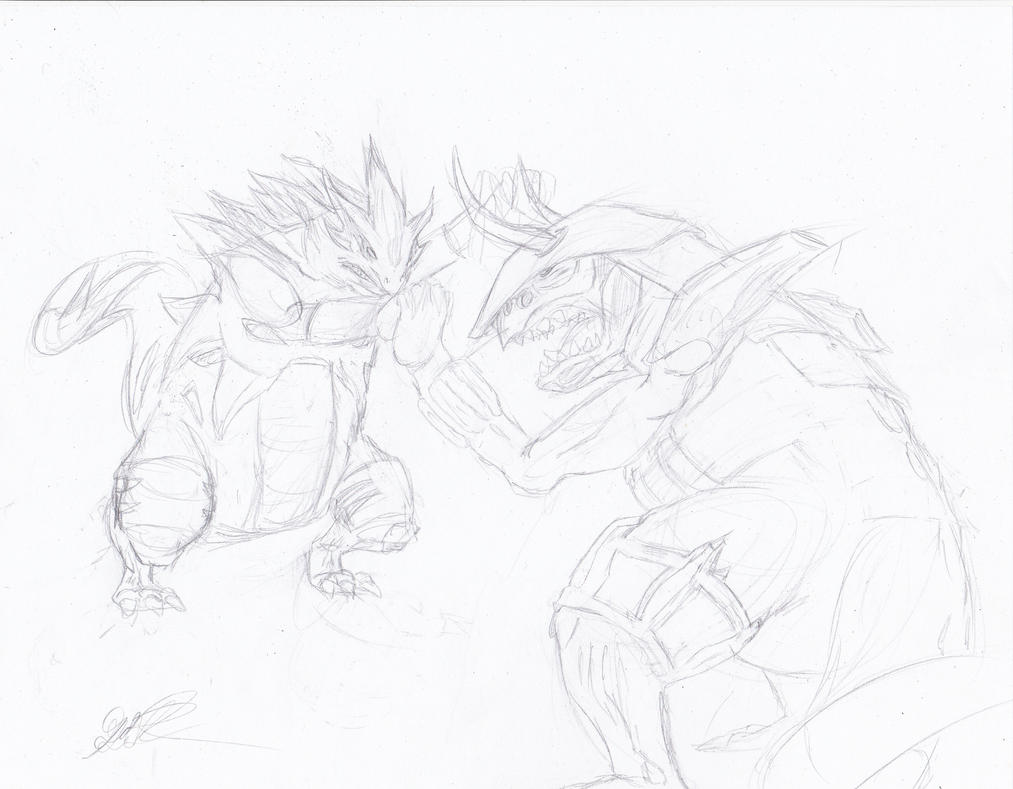 Tyranitar VS Aggron by GiothermalArts on deviantART