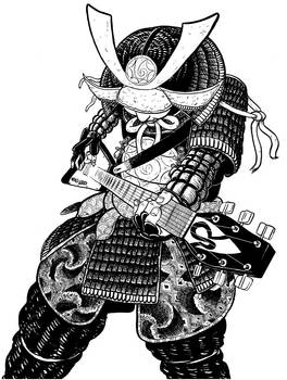 Guitar solo shredding samurai