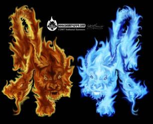 Twins of Chimeric Fire by JuviDrake
