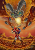 Link vs. Volvagia by fin-chan85