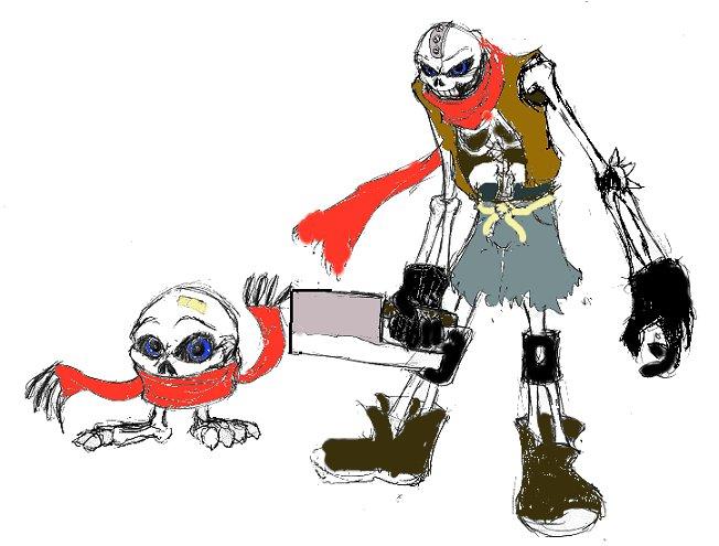 Skullmon and Skelemon in color by Heckfire