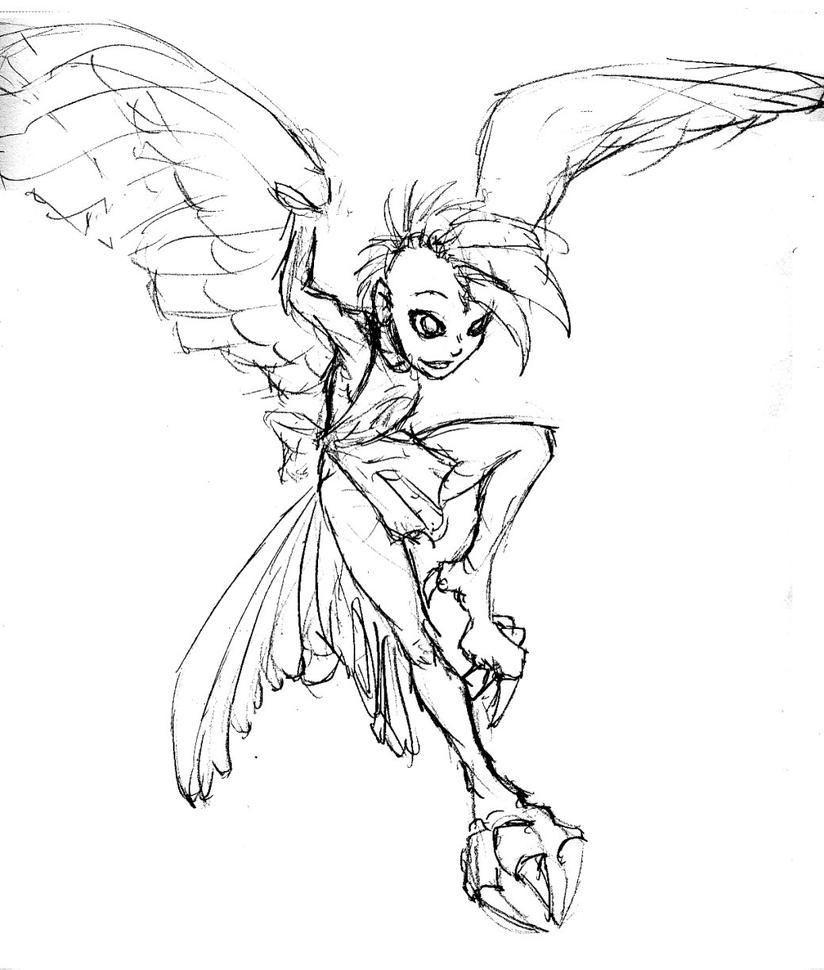 30 Day Monstergirl Challenge Harpy 398665896 on coloring pages for first day of
