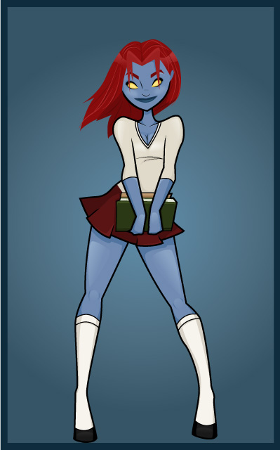Mystique as a School Girl by BlissInMyCoffee