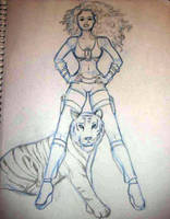 Woman and Tiger by BlissInMyCoffee