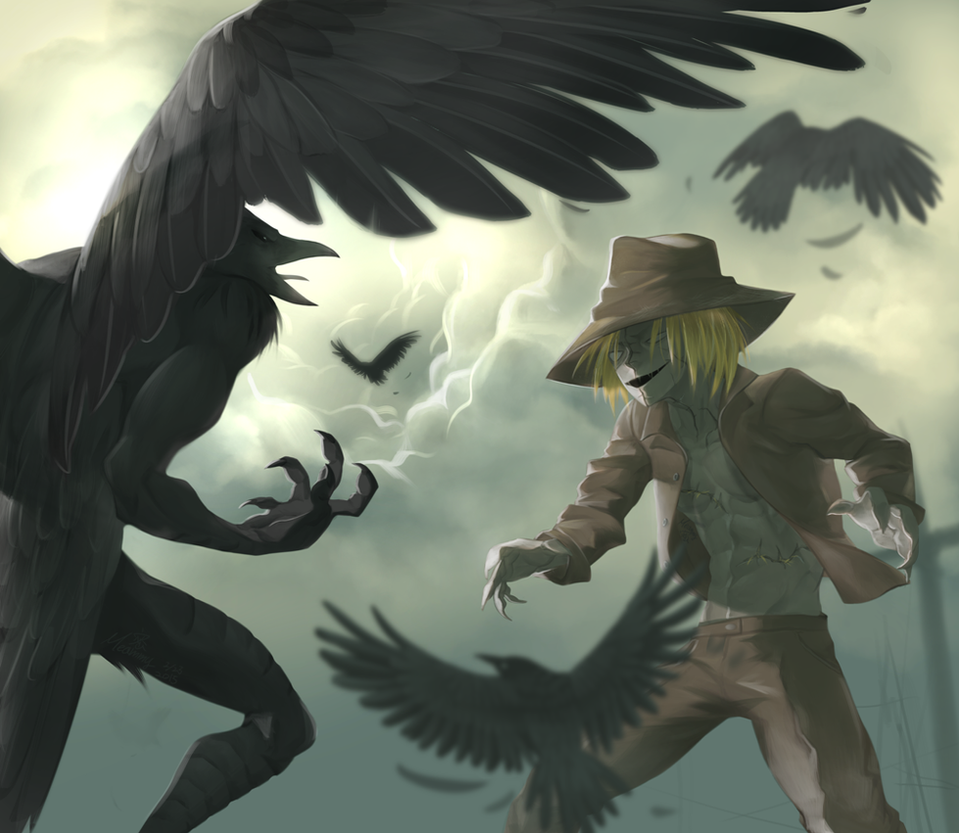 The Scarecrow vs The Raven by Meammy