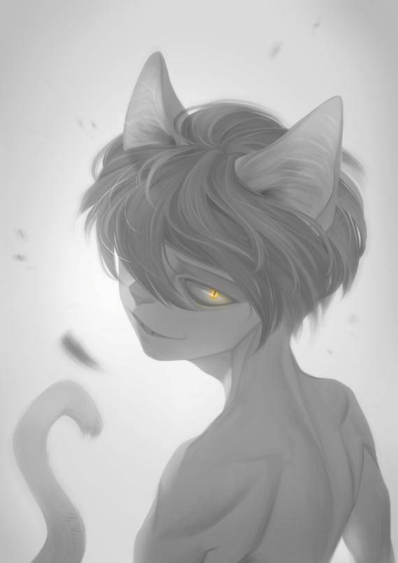 one fourth cat boy by Meammy