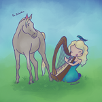 The Harpist and the Horse by Elvann