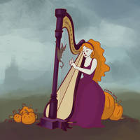The Pumpkin Harpist by Elvann