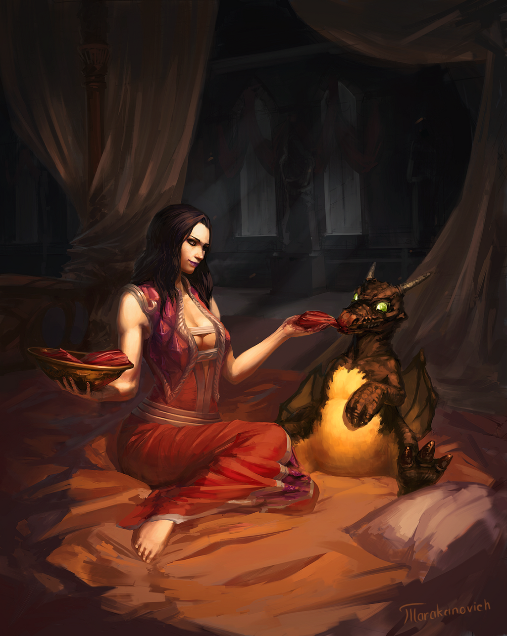 WoW fanart: Lady Katrana Prestor and the dragon by Tarakanovich