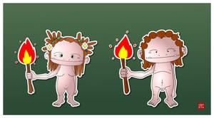 Prehistoric girl and boy