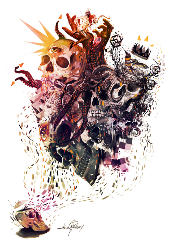 SKULLS 11 psychedelic by javierGpacheco