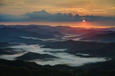 Sunrise Over Blue Ridge by matthewfoxxphotos