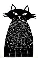 Cats Rule Lino Print by Stardust-Splendor