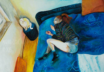 Selfportrait on Bed with Cat by Stardust-Splendor