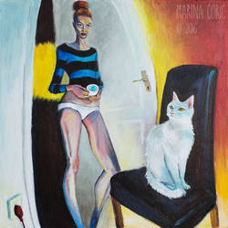 Selfportrait with Cat IV