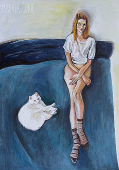 Selfportrait on Bed with Cat II